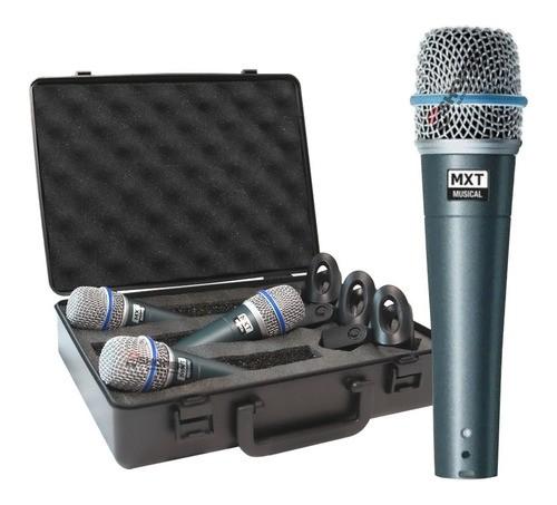 Kit C/ 3 Microfones Cardióide Dinamico Mxt + Maleta + Cachim