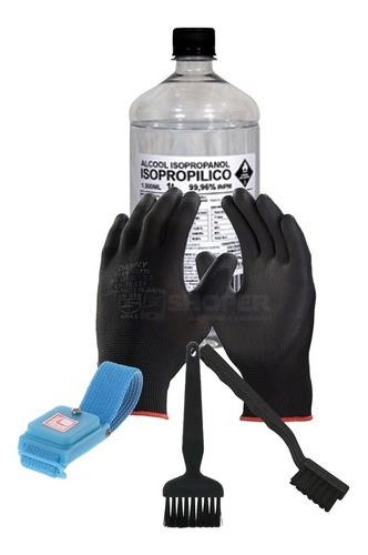 Kit Limpeza Antiestática Isopro Escova Pincel Luva Pulseira