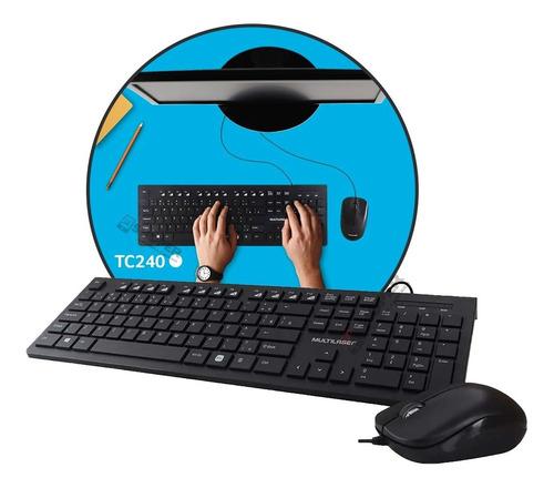 Kit Teclado Mouse Multilaser Teclas Baixas Slim C/ Fio Tc240