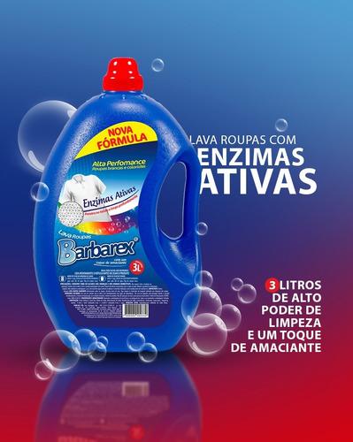Lava Roupas 3 Litros Com Enzimas Ativas + Toque De Amaciante