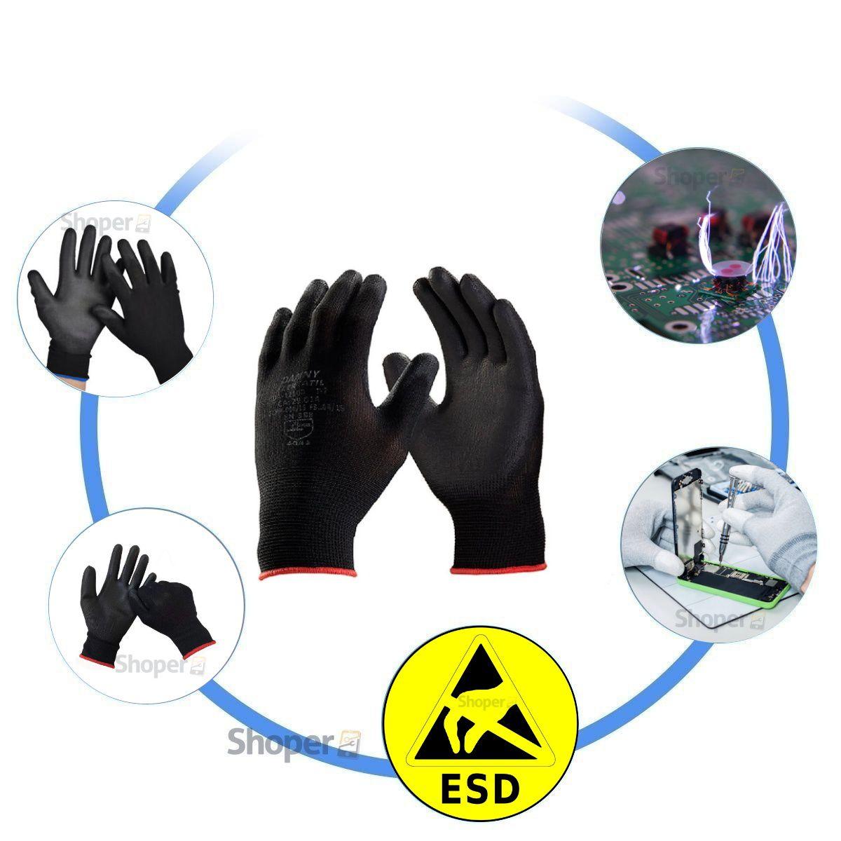 Luva Antiestatica Flextáctil ESD De Nylon P - M - G