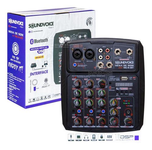 Mesa De Som Interface 4 Canais Soundvoice Mc4bt Novo Modelo