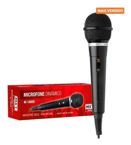 Microfone Dinâmico M-1800b Mxt C/ Fio Cabo 3 Metros Karaokê