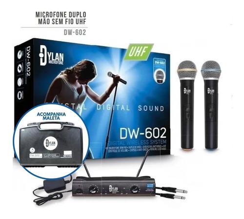 Microfone Duplo de Mão Sem Fios Wireless Dylan Dw-602 - Profissional + Maleta