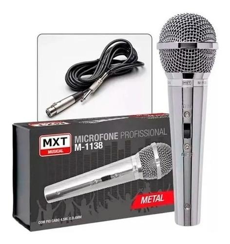 Microfone Profissional Metal Cromado Mxt M-1138 C/ Cabo 4.5m