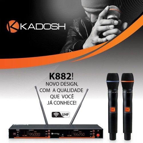 Microfone Sem Fio K882m Uhf Digital Mão Duplo Rack Kadosh