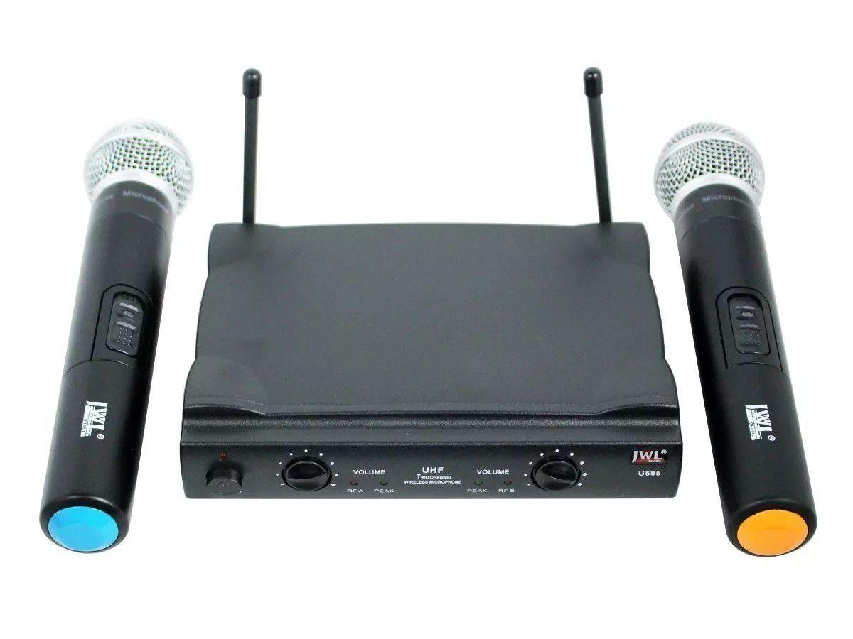 Microfone Sem Fio U585 Uhf Vocal Mão Duplo Jwl
