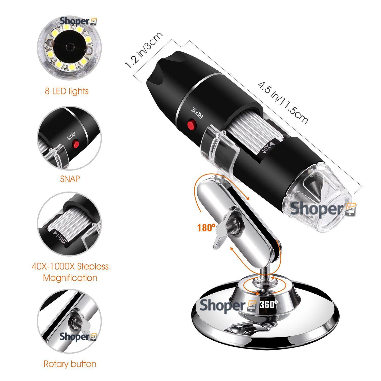 Microscopio Digital USB Profissional 500X Câmera 2MP Celular Tablet PC Notebook