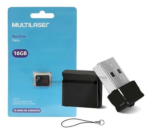 Mini Pendrive 16gb Multilaser Nano Usb Original Pd054