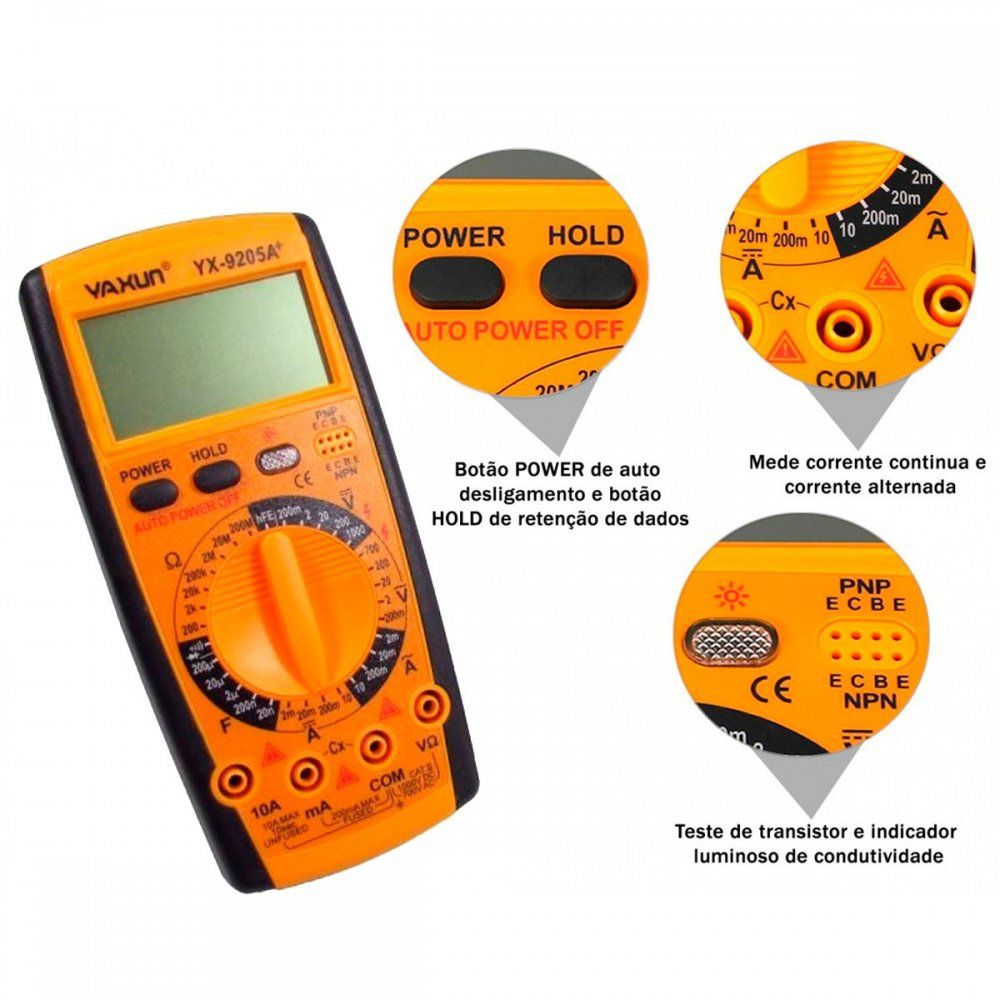 Multimetro Yaxun Digital YX-9205A - Capacímetro, Amperímetro, Ohmímetro, Voltimetro e etc...