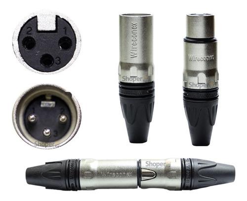 Par Plugs Xlr Fêmea + Macho Premium Profissional Wireconex
