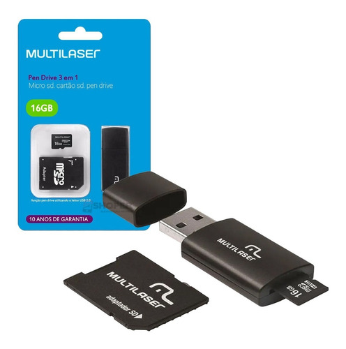 Pendrive Adaptador 3x1 16gb Cartão De Memória Micro Sd Mc112