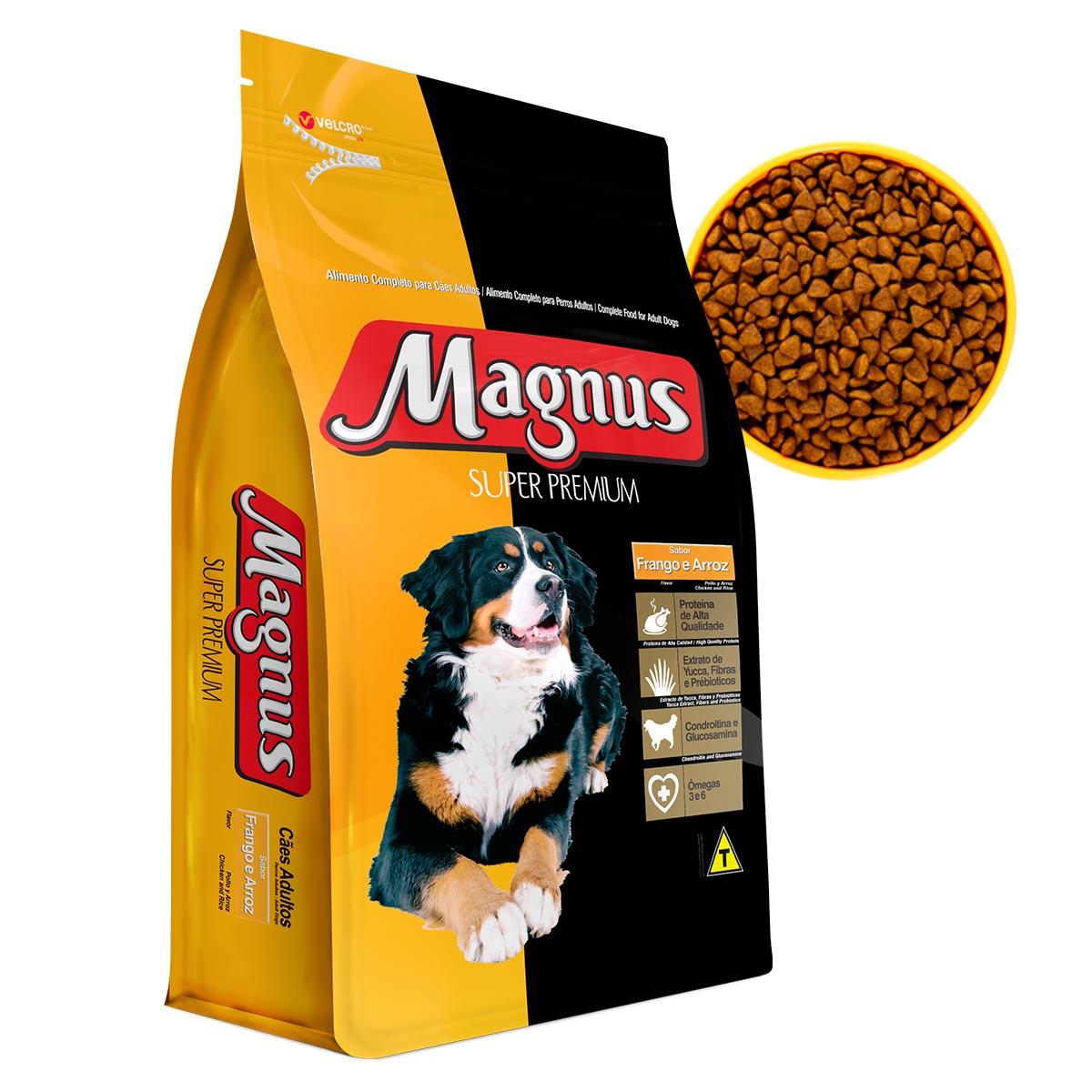 Ração Magnus Super Premium Cães Adultos Sabor Frango e Arroz 1 Kg