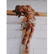 Cristo Crucificado (chagado) - Corpo: 130 cm | Cruz: 220 cm