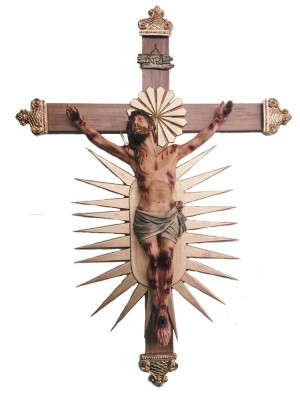 Crucifixo: 220 cm | Corpo: 140 cm (Bom Jesus | Agonia de Cristo)