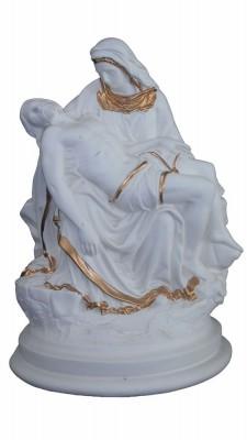 Nossa Senhora da Piedade - 035 cm - branca e dourada