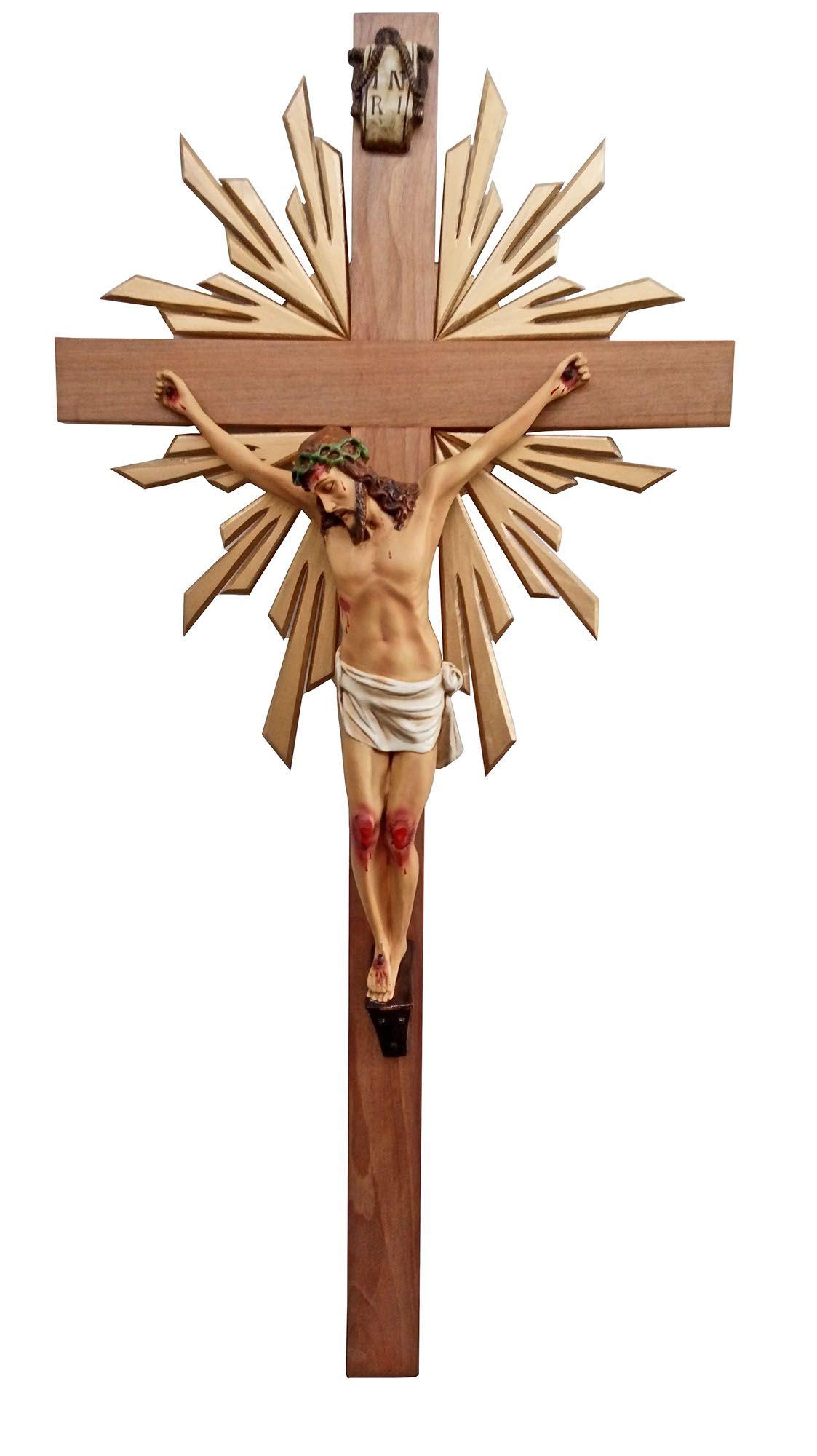 Crucifixo: 150 cm   Corpo: 070 cm (com resplendor)
