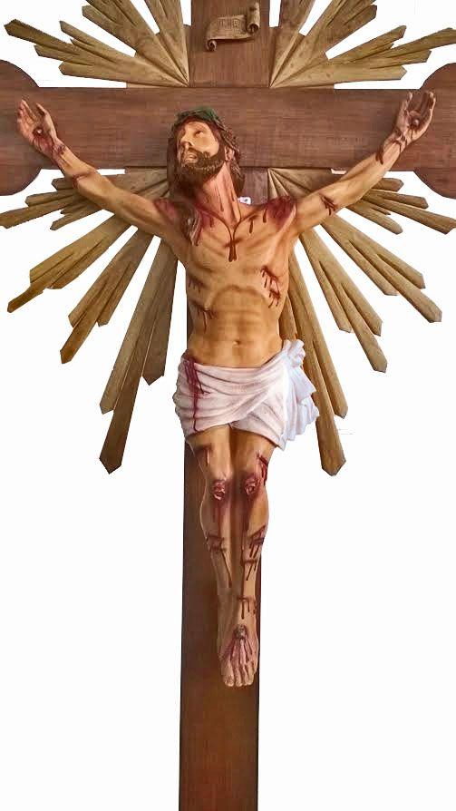 Crucifixo: 320 cm | Corpo: 140 cm (agonia com resplendor e base )