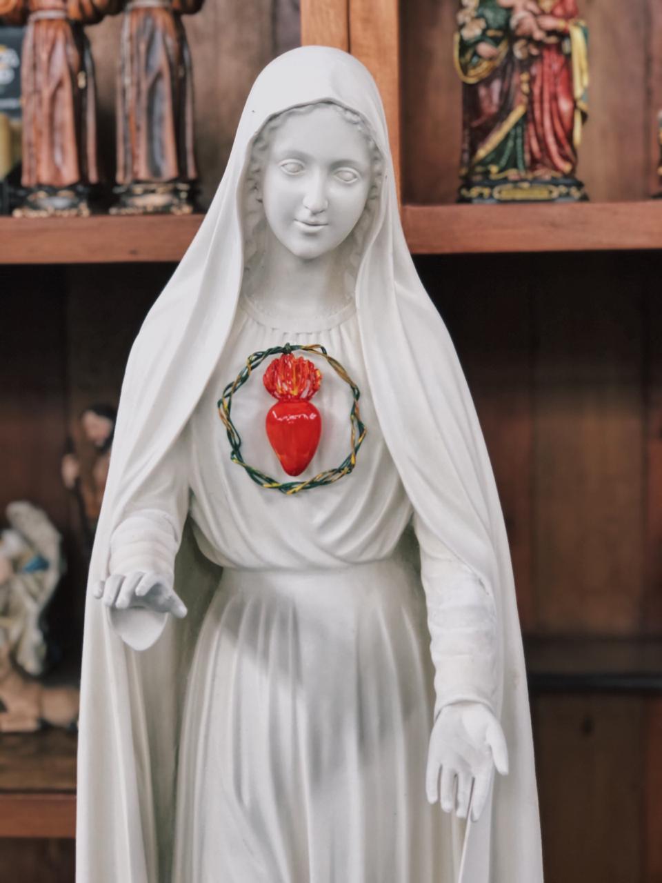 Nossa Senhora de Fátima - 110 cm - Imaculado Coração - pó de mármore