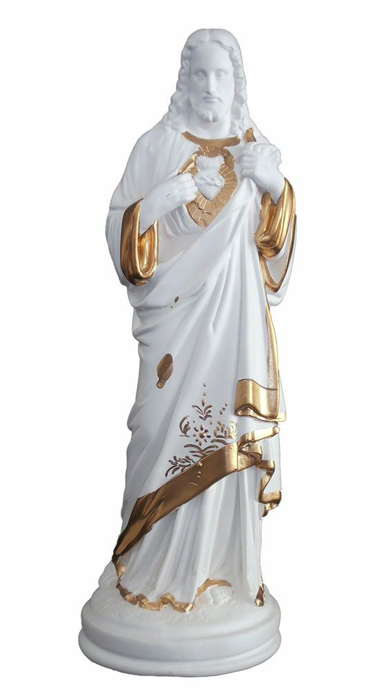 Sagrado Coração de Jesus (branco com dourado) - 35 cm