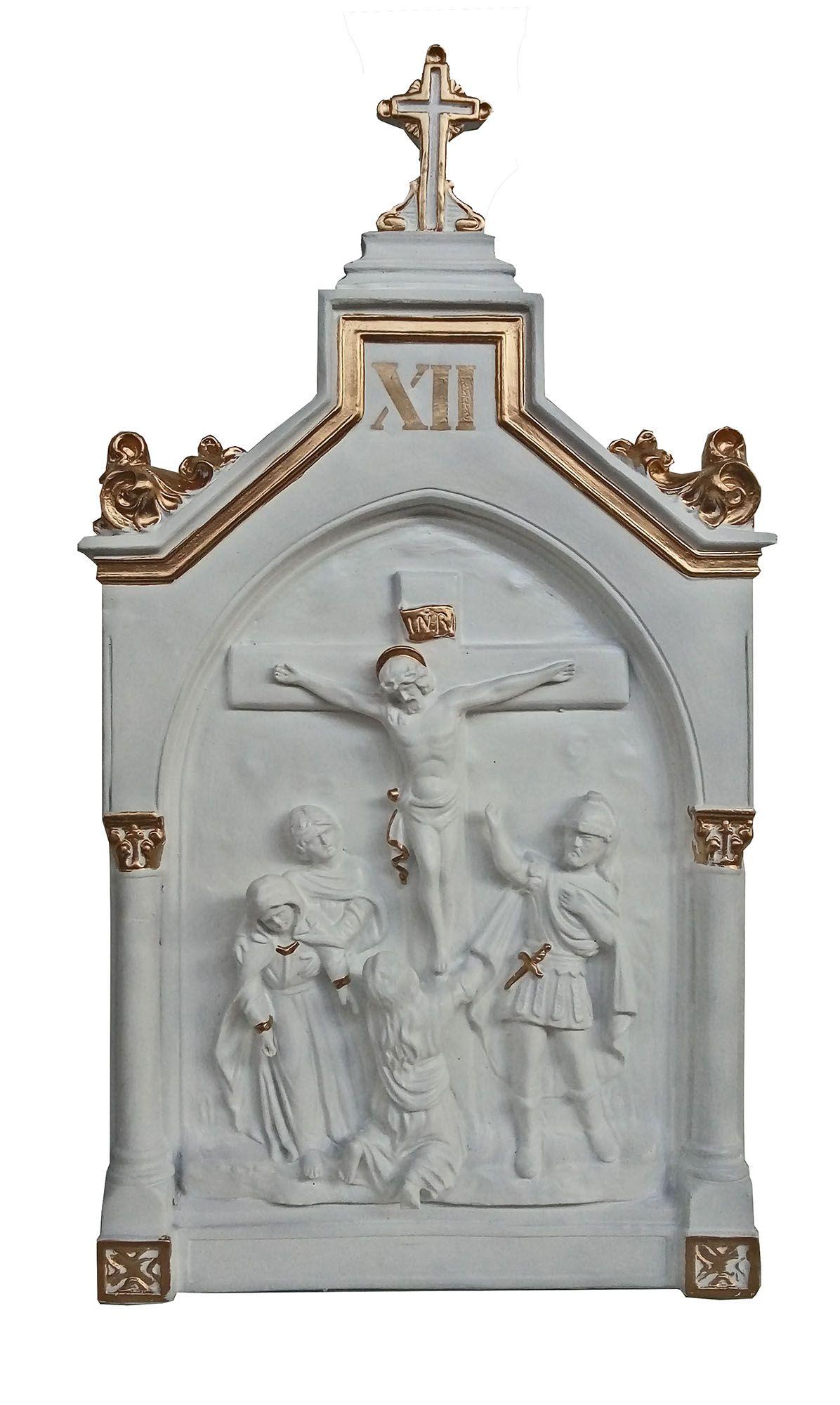 Via Sacra (branca e dourada) - 90 cm x 50 cm