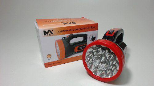 Lanterna Super 18 Leds Bivolt Holofote Recarregável