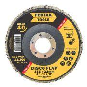 "DISCO FLAP CÔNICO 4.1/2"" 115x22mm GR40 - FERTAK"