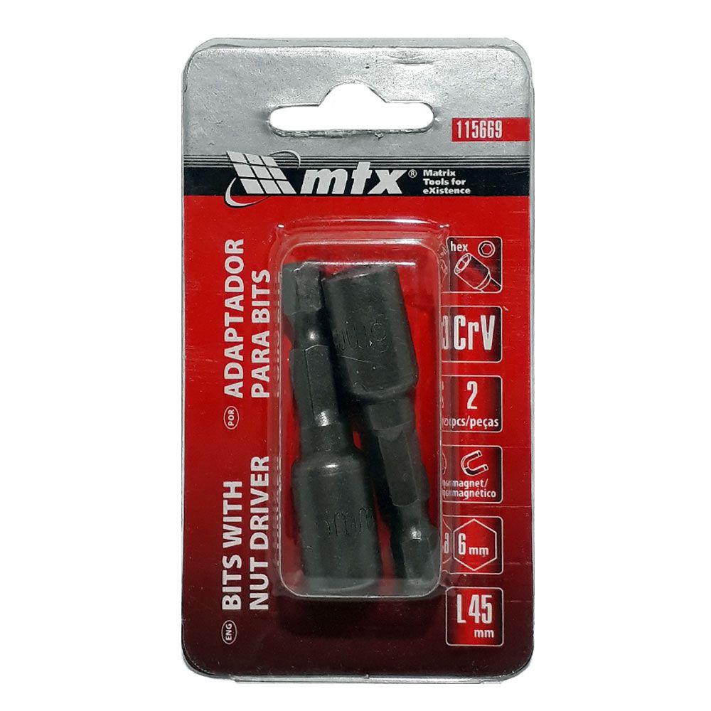 Adaptador para parafusadeira 6mm 2 pç - Mtx