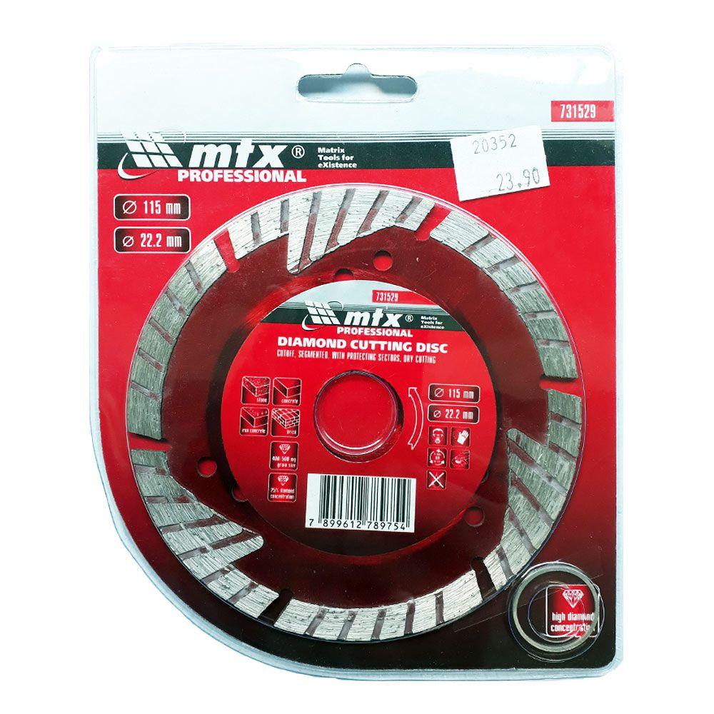 Disco de Corte Diamantado Segmentado 115X22MM 731529 - Mtx