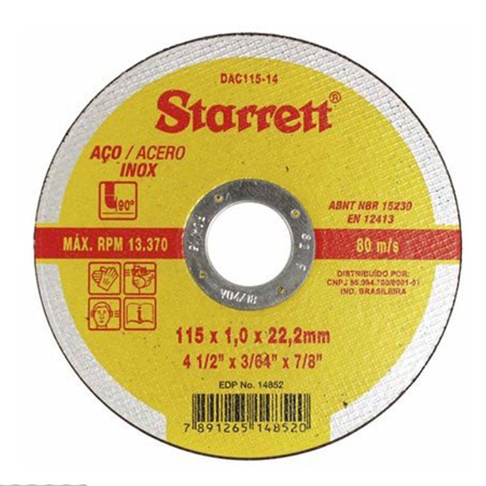 """DISCO DE CORTE PARA AÇO INOX 4.1/2"""" - Starrett"""