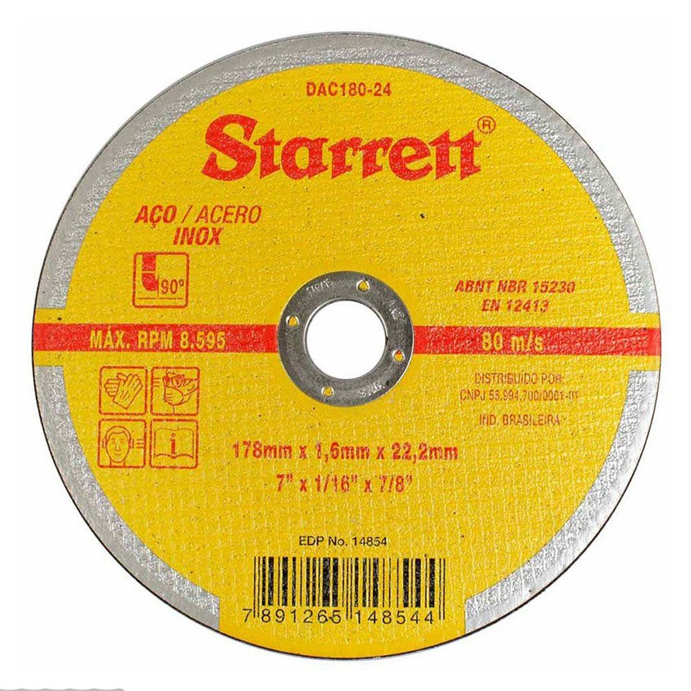 "DISCO DE CORTE PARA AÇO INOX 7"" 178X 22,2mm - Starrett"