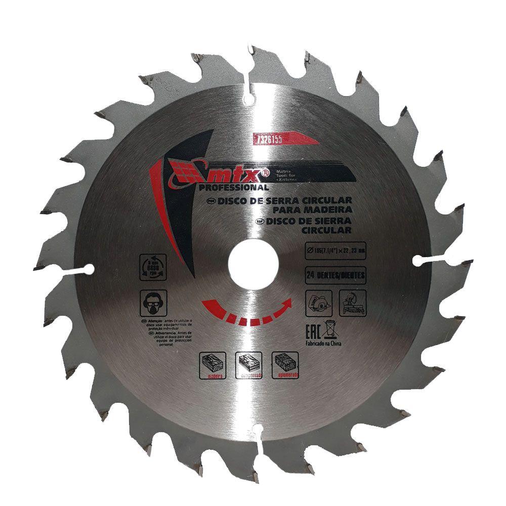 Disco Para Serra Circular 185 x 22,23mm 24 dentes - MTX