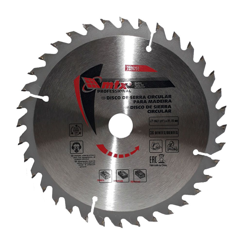 Disco Para Serra Circular 185 x 22,23mm 36 dentes 7326255 - MTX