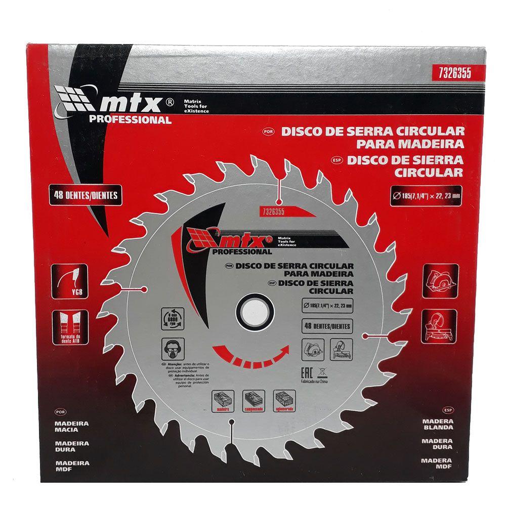 Disco Para Serra Circular 185 x 22,23mm 48 dentes - MTX