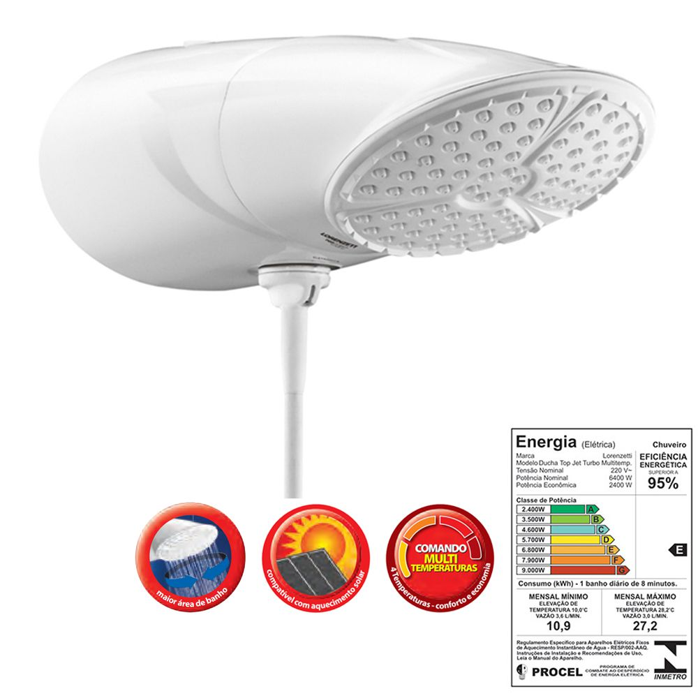 Ducha Top Jet Multitemperaturas 220V 6400W - Lorenzetti