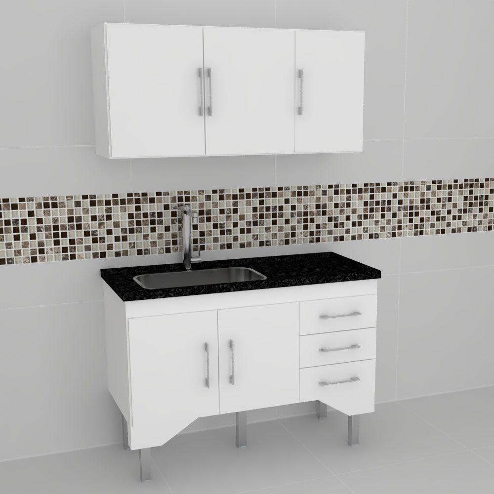 Gabinete Cozinha Bari Branco 1,15mt - Harpex