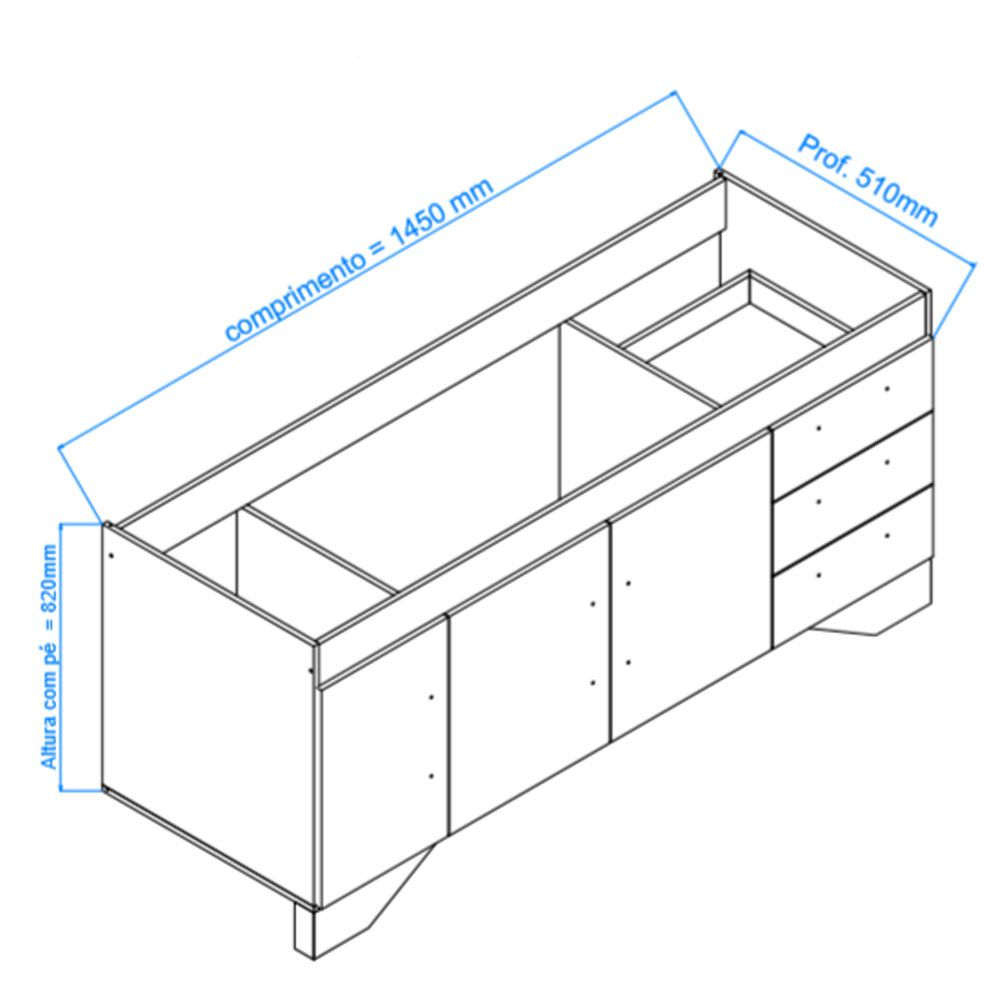 Gabinete Cozinha Bari Branco 1,45mt - Harpex