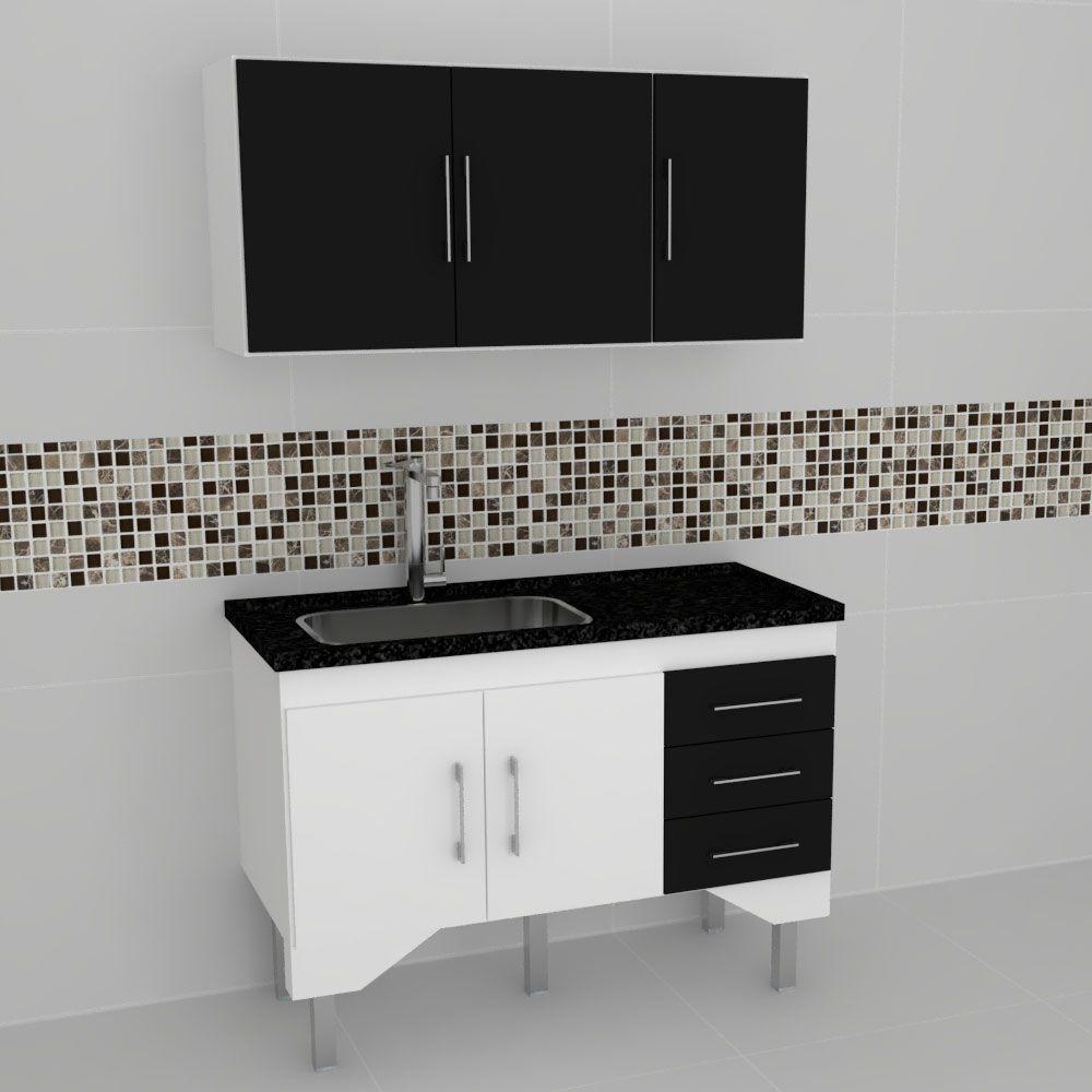 Gabinete Cozinha Bari Preto 1,15mt - Harpex