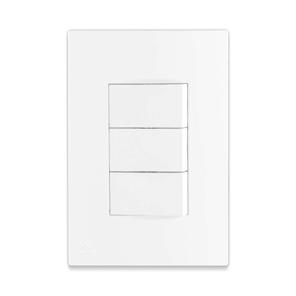 Interruptor Triplo Branco Simples 10A 250V - Apoio Lissê