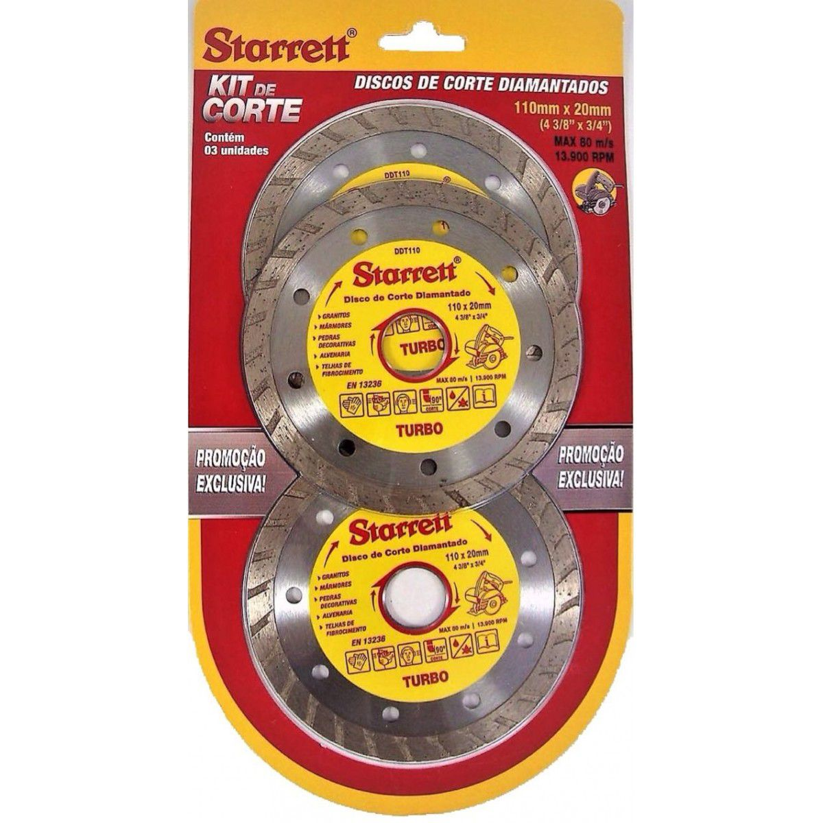 Kit Discos de Corte Diamantados Misto 110x20mm - Starrett