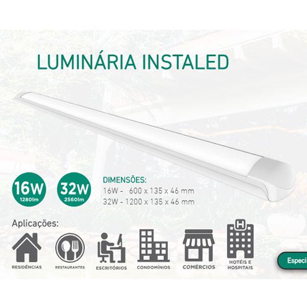 Luminária Led Sobrepor 16W 6500k 60cm Bivolt - OL