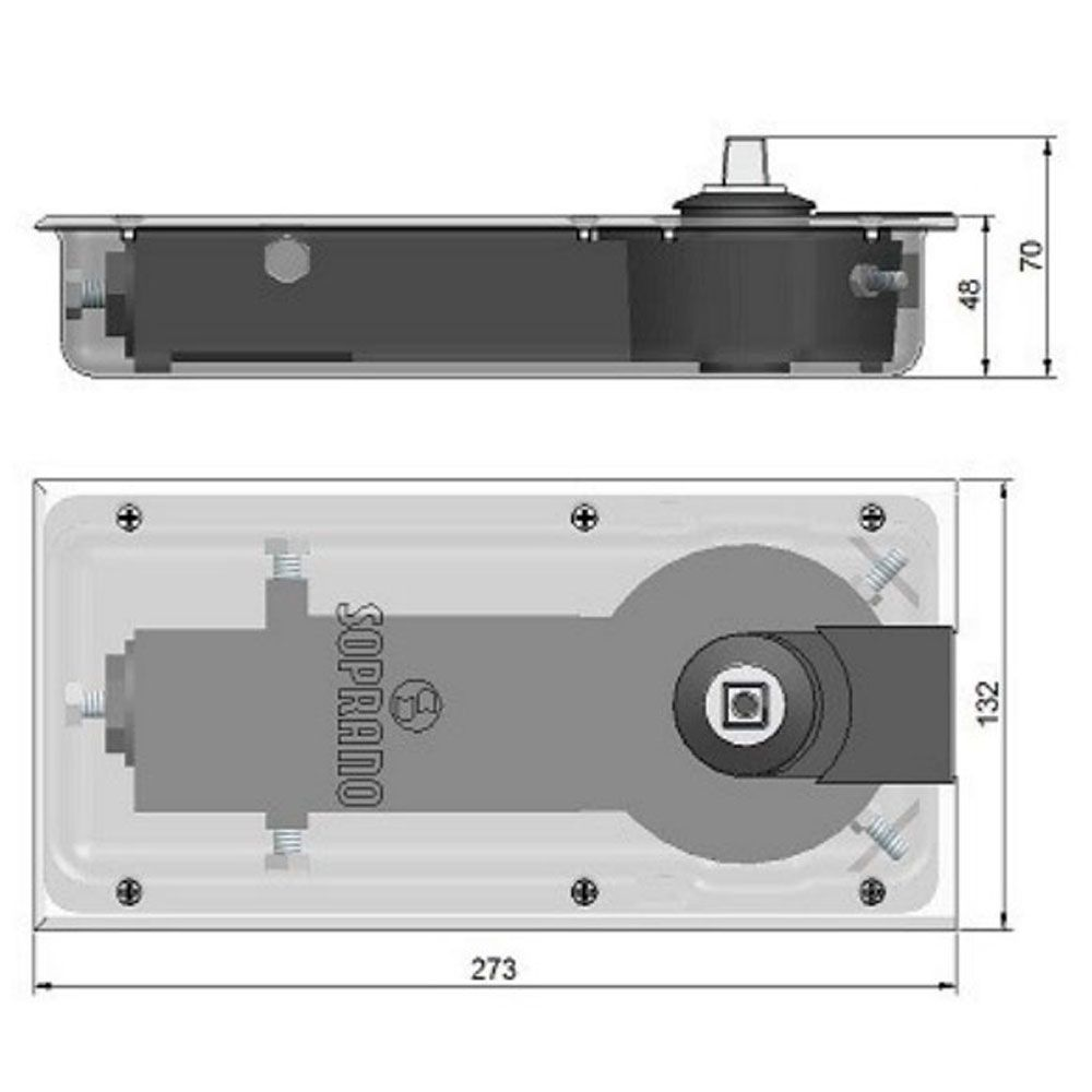 Mola de piso para porta de vidro P310 - Soprano