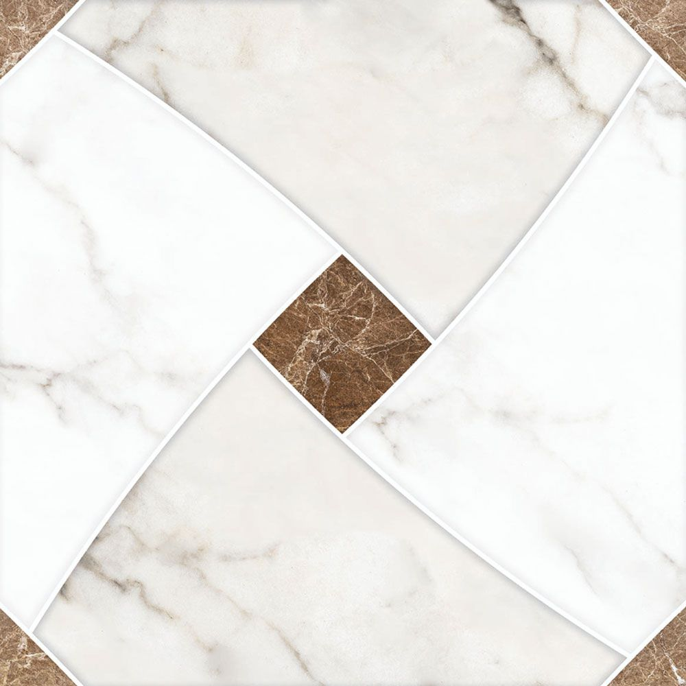 Piso Brilhante Decorado Avellano 52x52cm m² - Rosagrês