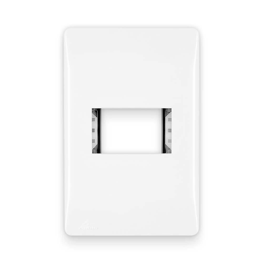 Placa Espelho Branca P/ 1 Módulo Horizontal 4X2 - Apoio Moduluz