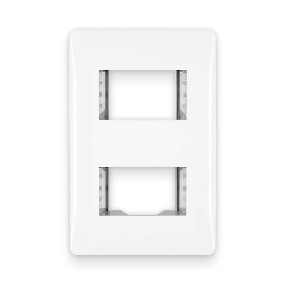 Placa Espelho Branca P/ 2 Módulos 4X2 - Apoio Moduluz