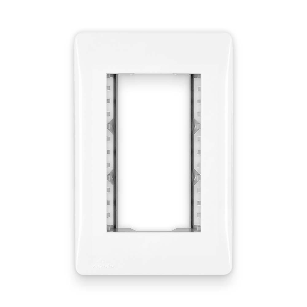 Placa Espelho Branca P/ 3 Módulo Horizontal 4X2 - Apoio Moduluz