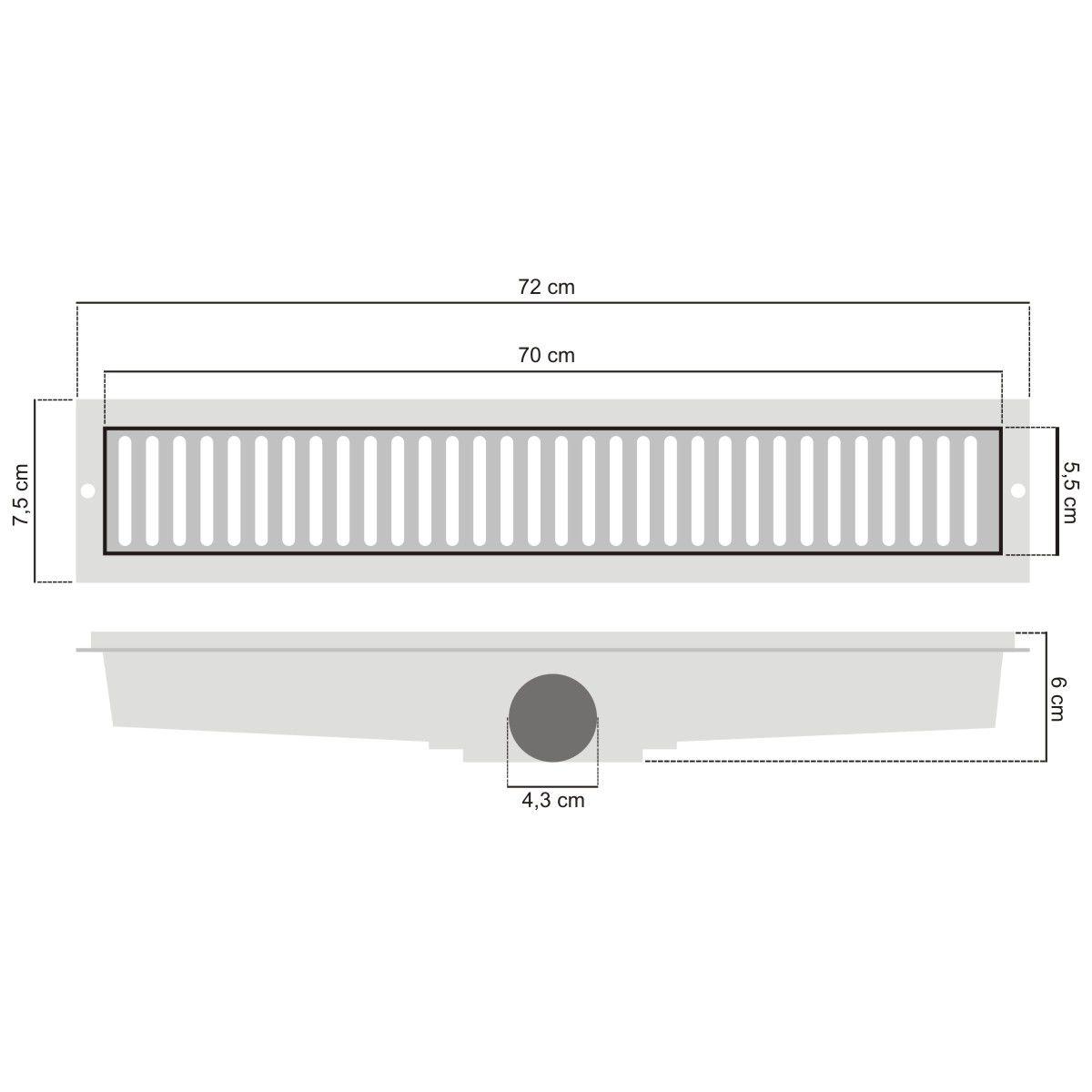 Ralo Linear Inox Perfurada 5x70cm - Lgmais