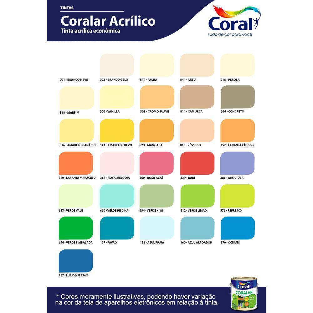 Tinta Coralar Acrílico 18L - Coral