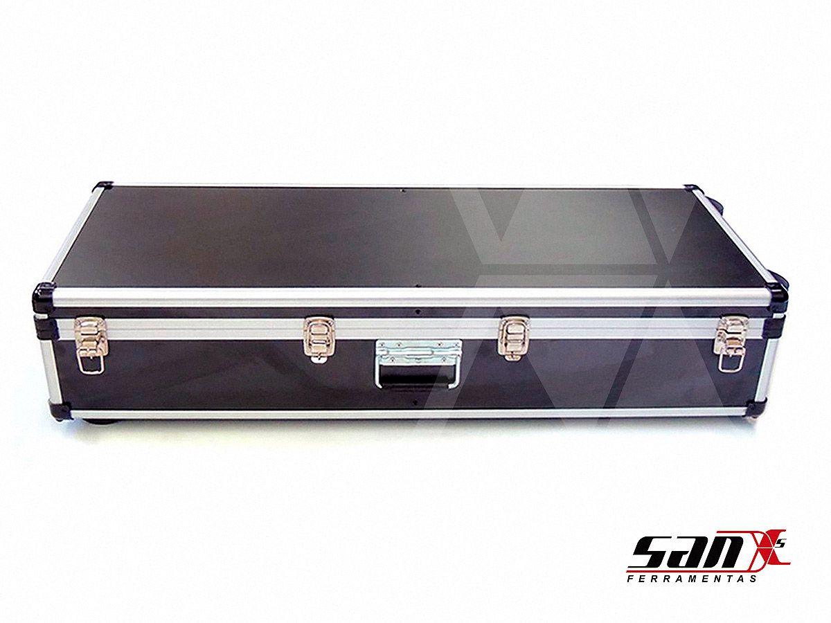 Case de alumínio 105x35x18 cm | Rodízio, trava cadeado + alça para transporte