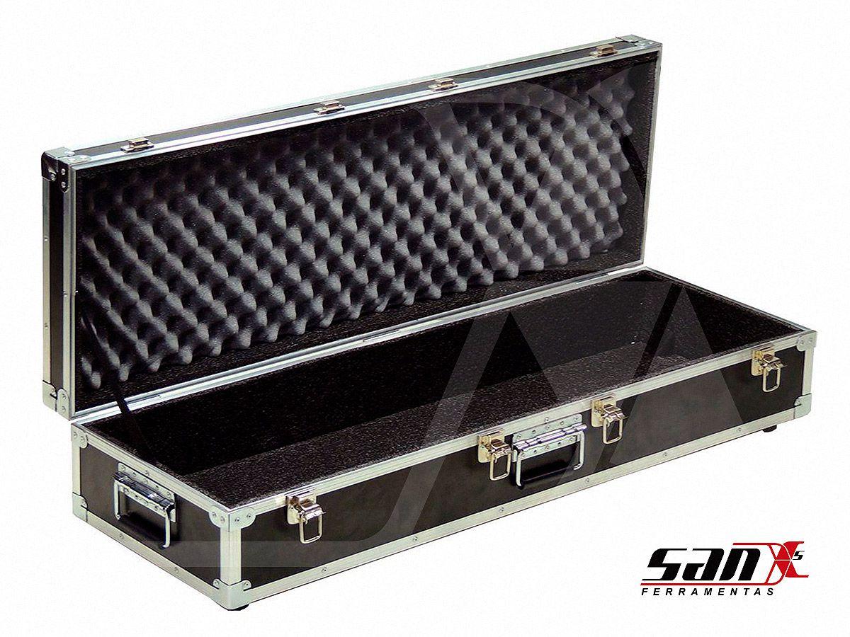 Case de aluminio 115x35x18 cm | Rodizio, trava cadeado + alça para transporte